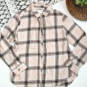 SO Pink Button Down Plaid Flannel Top